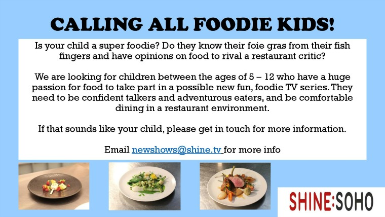 child foodies wanted for TV show